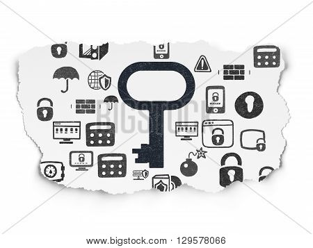 Safety concept: Painted black Key icon on Torn Paper background with  Hand Drawn Security Icons