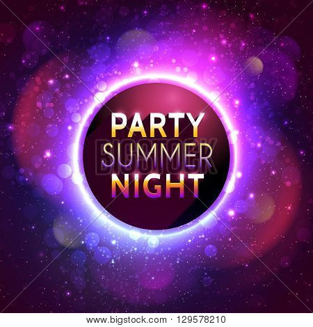 Flyer template for summer night party. Premium abstract background with bokeh defocused lights. Vector illustration
