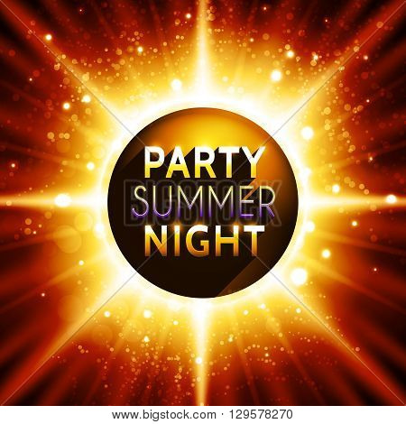 Flyer template for summer night party. Premium abstract background with bokeh defocused lights and sun rays. Vector illustration
