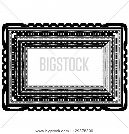 Rectangular Decorative Frame Isolated on White Background
