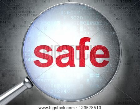 Safety concept: magnifying optical glass with words Safe on digital background, 3D rendering