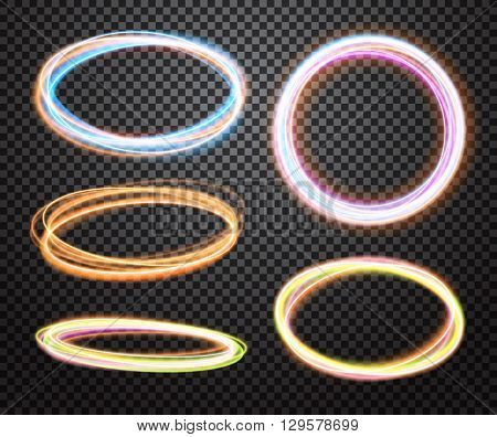 Set of glowing lights effects on transparent background. Special effects with transparency. Blurred magic bright circle light tracing collection. Vector illustration