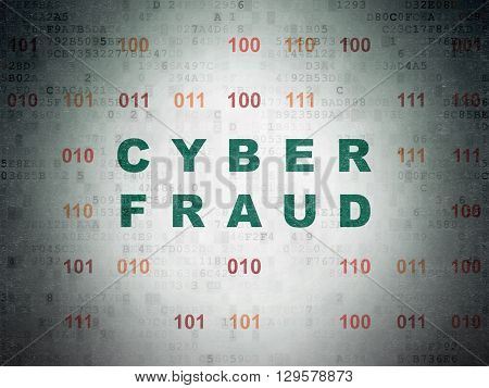 Protection concept: Painted green text Cyber Fraud on Digital Data Paper background with Binary Code