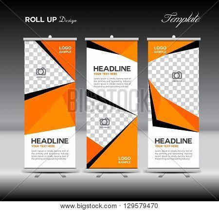 Orange Roll Up Banner template vector illustration polygon background banner design roll up display advertisement