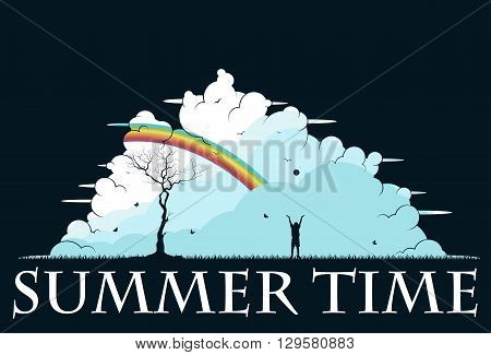 Child playing in the park. Summer time. Vector illustration