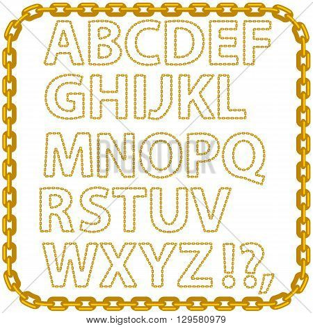Gold Chain Alphabet Isolated on White Background