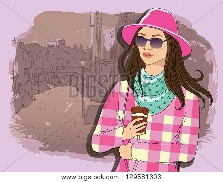 Pretty fashion girl in hat with coffee, sketch style on a street town background. Vector illustrator. hand draw, hipster design, Kiev, line,