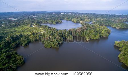 Labuan,Malaysia-Aug 4, 2015:Aerial view of Bukit Kuda Dams in Labuan,Malaysia.Labuan to resort to rationing of water supply due to the El-Nino phenomenon which is expected to last until April 2016.