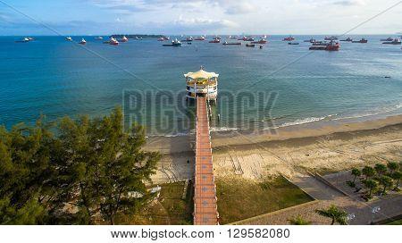 Labuan,Malaysia-January 29,2016:Aerial view of Manja Rasa restaurant, a famous floating restaurant on sea waters near the Labuan International Sea Sports Complex at Labuan,Malaysia.
