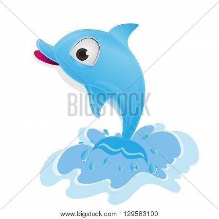 blue dolphin water splash illustration on white background