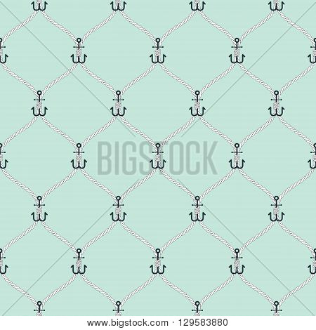Nautical rope and small anchors seamless fishnet pattern on light blue background