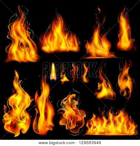 illustration of Realistic Burning Fire Flame on black background