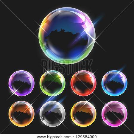 illustration of Realistic transparent soap bubbles