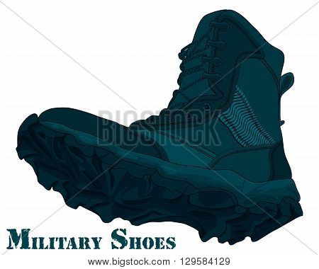 Cartoon Army Boot. Vector Illustration