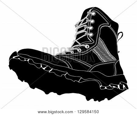 Black Silhouette Army Boot. Military Shoes