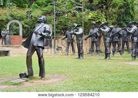 MANILA PHILIPPINES - APRIL 1 2016: The martyrdom of Dr. Jose Rizal. The light and sound sculpture diorama is a memorial to the national hero.
