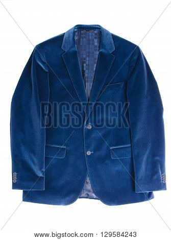 Male, blue, classic suede jacket on a white background