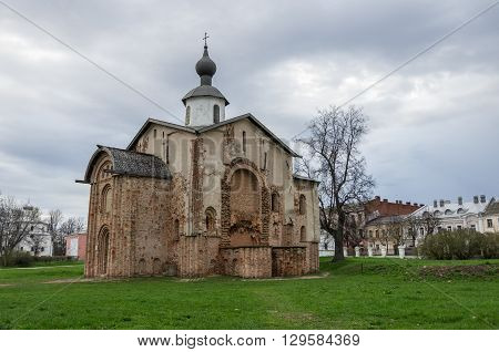 Brick Church Paraskeva Was Founded In 1207. Veliky Novgorod. Architectural Tourist Complex Of Novgor