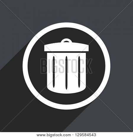 flat design garbage can vector icon