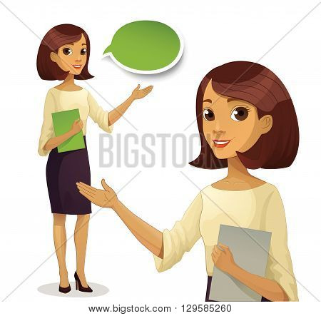 Career business work in office. Young woman in formal wear hold case with files documents paperwork. Guide character illustration. Business woman. Woman assistant. Vector.