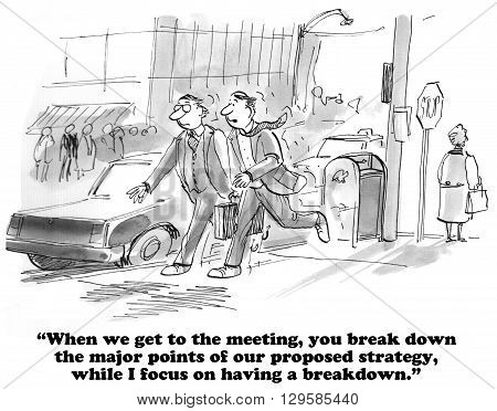 Business cartoon about two different kinds of breakdown.