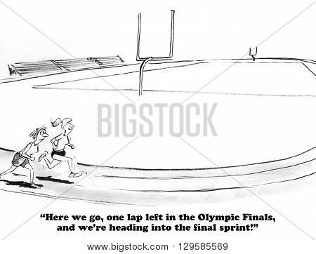 Sports cartoon about the last lap to achieve victory.