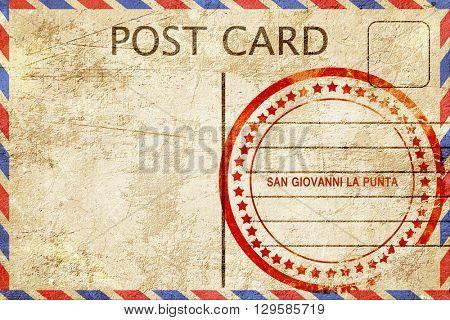 San giovanni la punta, vintage postcard with a rough rubber stam