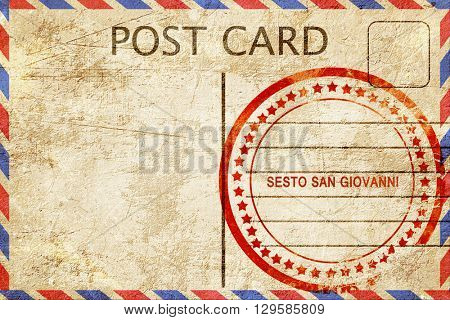 Sesto san giovanni, vintage postcard with a rough rubber stamp