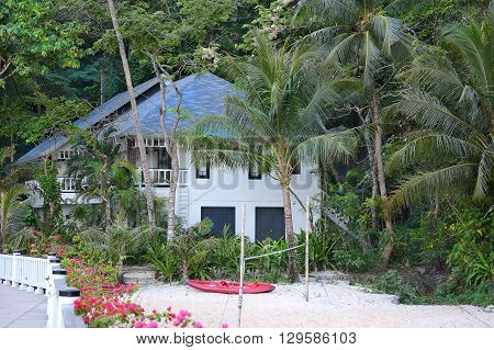 EL NIDO LAGEN ISLAND PHILIPPINES - APRIL 5 2016: Bungalow at the Lagen Island Resort. The eco-sanctuary is in Bacuit Bay.