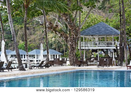 EL NIDO LAGEN ISLAND PHILIPPINES - APRIL 5 2016: Pool at the Lagen Island Resort. The luxury Eco-Sanctuary resort in in Bacuit Bay.