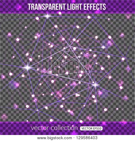 Abstract constellation with lights effect over transparent background. Vector transparent constellation. Vector illustration.