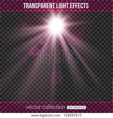 Glowing sun with lights effect over transparent background.  Purple sun with bokeh. Vector illustration with abstract sun.
