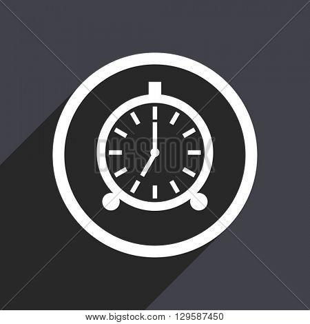 flat design alarm clock vector icon