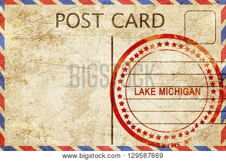 Lake michigan, vintage postcard with a rough rubber stamp