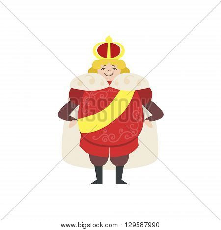 Fairytale King Flat Isolated Childish Style Simple Vector Drawing In Bright Colors On White Background