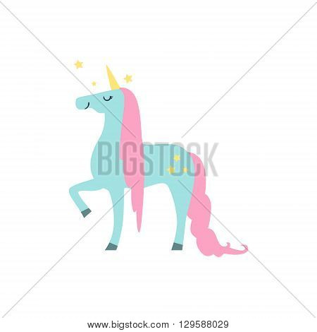 Fairytale Unicorn Flat Isolated Childish Style Simple Vector Drawing In Bright Colors On White Background
