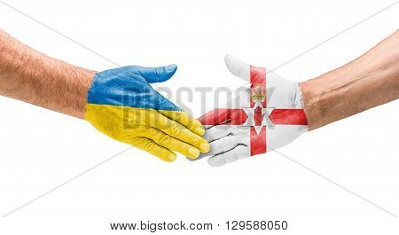 Football Teams - Handshake Between Ukraine And Northern Ireland