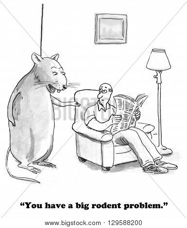 Cartoon about an unexpected, big rodent in the house.