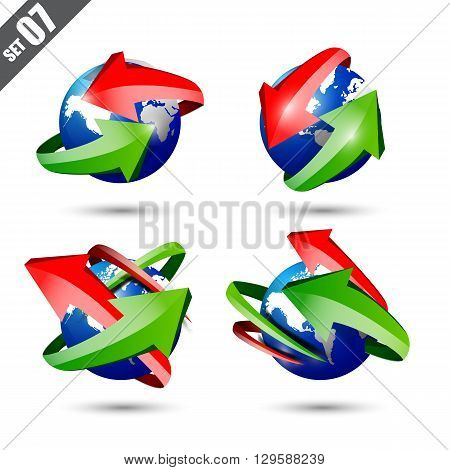 Collection of defference 3D globe and world map with green and red shine arrow wrap it vector illustration eps10