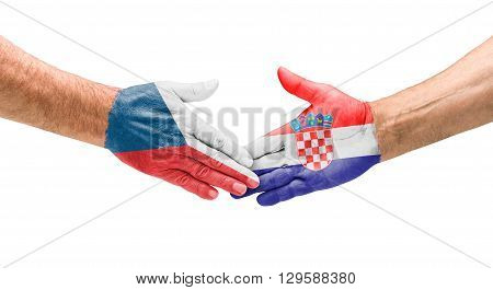 Football Teams - Handshake Between Czech Republic And Croatia