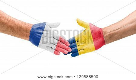Football Teams - Handshake Between France And Romania