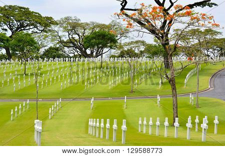 MANILA PHILIPPINES - APRIL 1 2016: Manila American Cemetery and Memorial. With 17206 graves it is the largest WWII cemetery for US personnel.