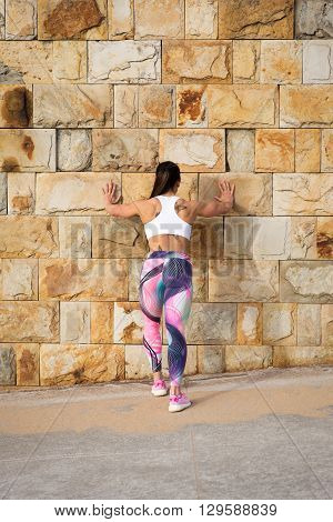 Fitness Strong Woman On Urban Fitness Stretching Workout