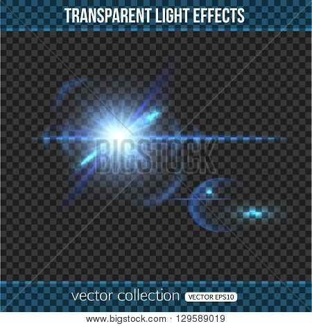 Starlight background. Abstract star with light effect over transparent background. Vector illustration with transparent star.