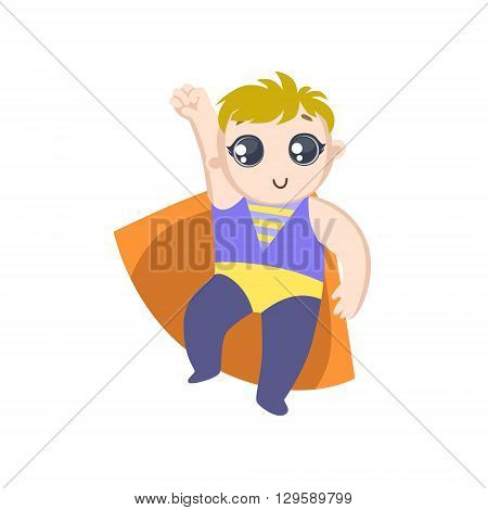 Boy Dressed As Superhero With Orange Cape Funny And Adorable Flat Isolated Vector Design Illustration On White Background