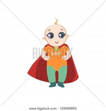 Baby Dressed As Superhero With Red Cape Funny And Adorable Flat Isolated Vector Design Illustration On White Background