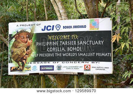 CORELLA BOHOL PHILIPPINES - APRIL 5 2016: Tarsier Sanctuary Sign. Tarsiers are the worlds smallest primates.