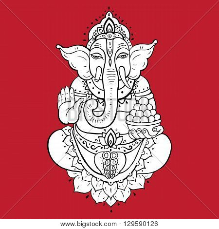 Hindu God Ganesha. Golden Ganapati. Vector hand drawn illustration. Meditation in lotus pose