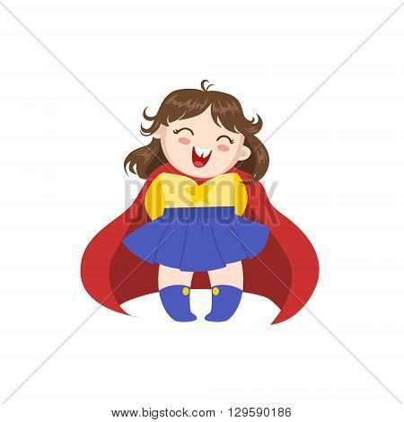 Girl Dressed As Superhero With Red Cape Funny And Adorable Flat Isolated Vector Design Illustration On White Background