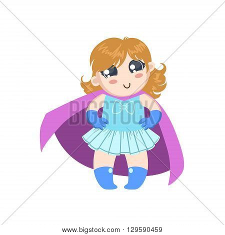 Girl Dressed As Superhero With Pink Cape Funny And Adorable Flat Isolated Vector Design Illustration On White Background